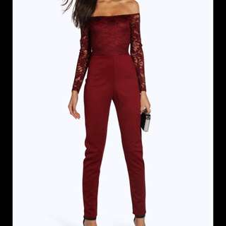 RED LACE LONG SLEEVE PANT PLAYSUIT