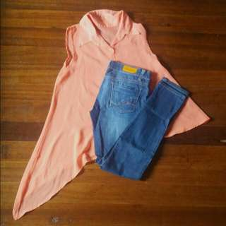 Jeans And Asymmetric Blouse