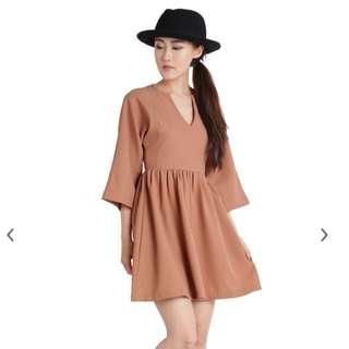 Ttr BABYDOLL DRESS (CAMEL) BNWT