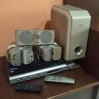 Philips Amp With 5 Speaker & Lg dvd Player All With Remote