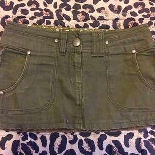 Khaki Mini Denim Skirt
