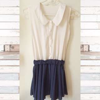 White and Navy Blue Vintage Dress
