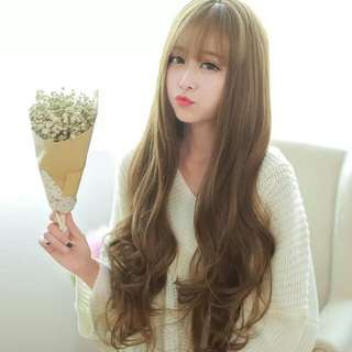 Korean Airy Fringe With Long Wavy Hair Wig