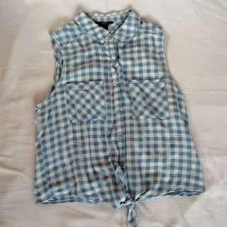 FOREVER 21 Blue Flannel Top