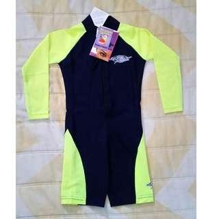 [LIMITED SIZE!] BN Stingray Kids L/S Swimsuit (Black/Yellow)