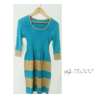 Blue & Gold Casual Dress