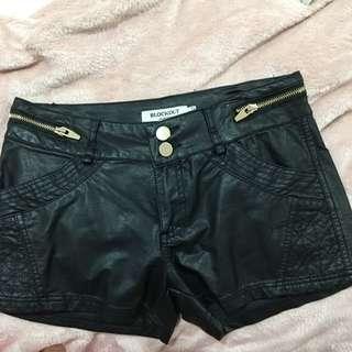 Blockout Leather Shorts Size 8