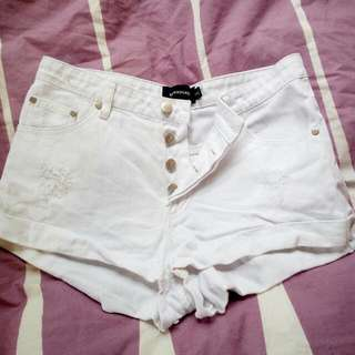 MinkPink White High Waisted Shorts