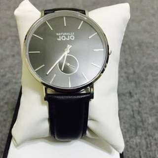 NATURALLY JOJO 簡約時尚小秒針腕錶 中性錶 皮帶錶 黑 JO96886-88M