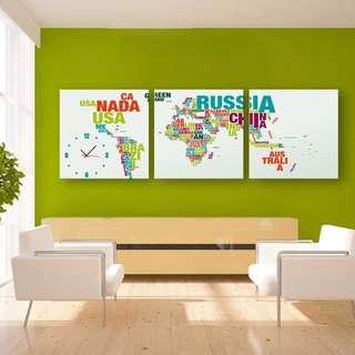 ✨超質感 ✨框畫掛鐘 世界地圖🌏3幅一組 (附機蕊)