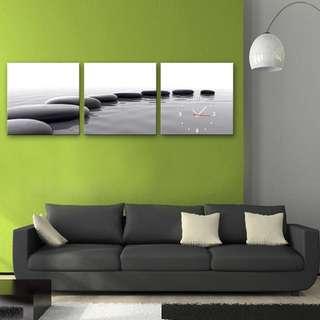 ✨超質感 ✨框畫掛鐘 石 3幅一組 (附機蕊)