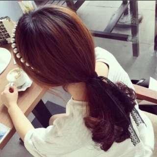 韓國名媛風珍珠纏繞蕾絲束蝴蝶結綁帶髮箍