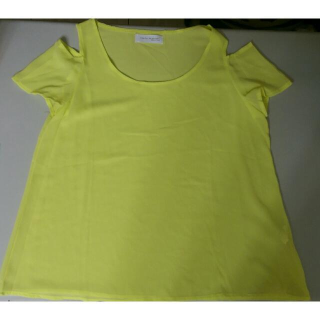 雪紡挖肩螢光黃色上衣