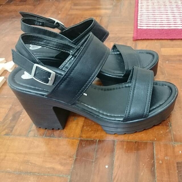 黑色 厚底 高跟涼鞋