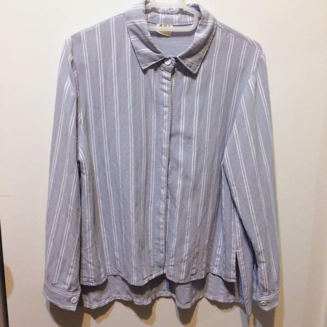 淺藍灰色直條襯衫#200元襯衫