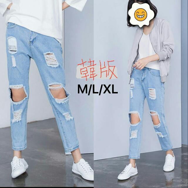 韓版個性方型破壞刷破牛仔褲,顯瘦好穿👍