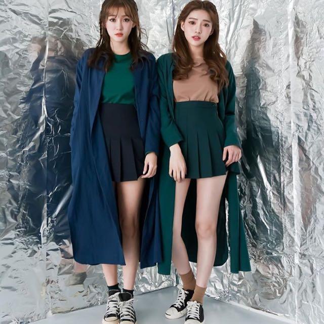 側拉鍊百摺短裙(藍綠)