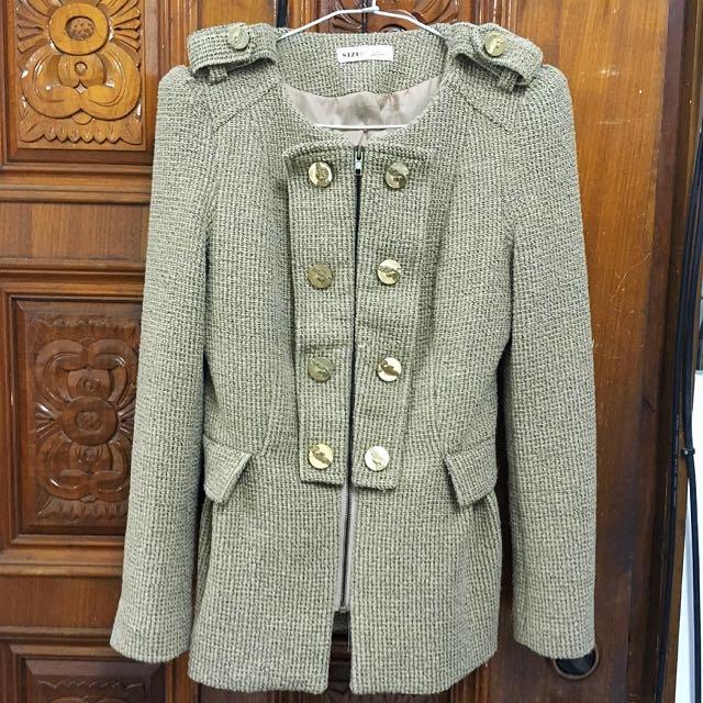 正韓 韓貨 卡其 駝色 裙擺 排釦 軍裝 大衣 毛呢 外套