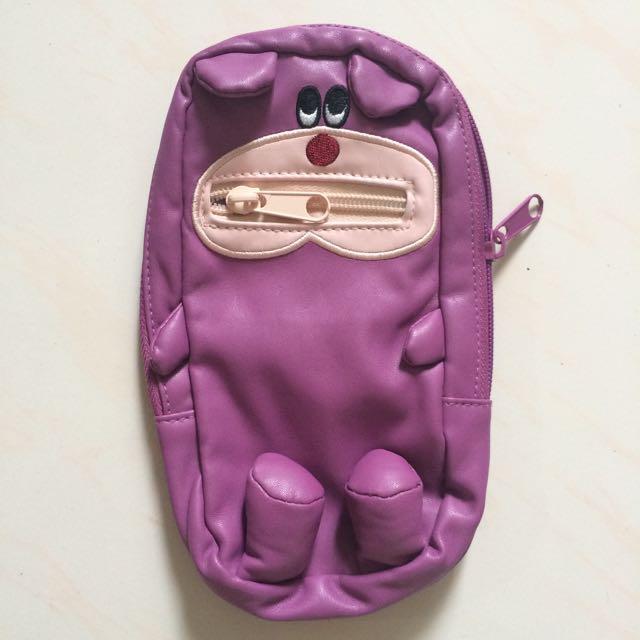 紫色 熊 收納包 化妝包 筆袋