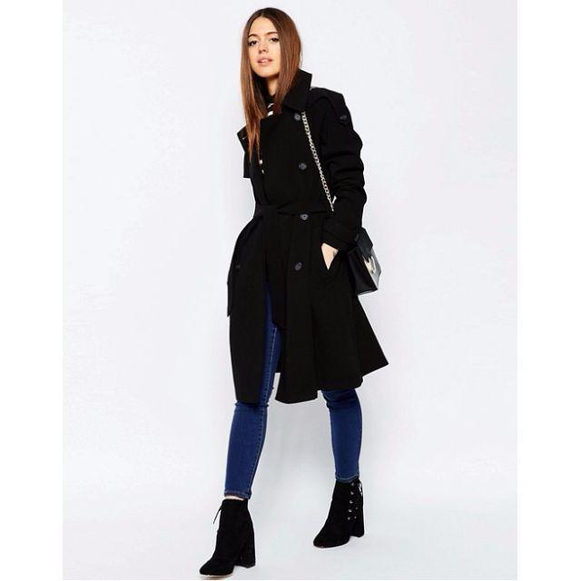 ASOS 英國長版風衣排釦綁帶外套