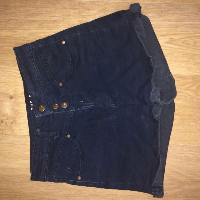 Black High-Waisted Denim Shorts