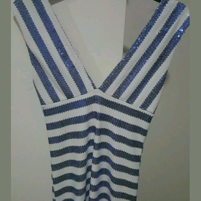Blue And White Sequin Dress