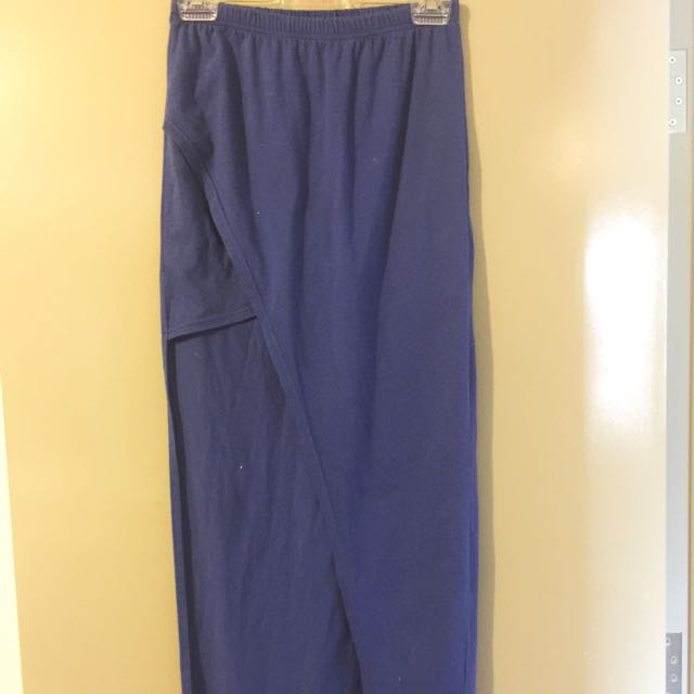 Blue High Waist Max Skirt With Side Cut Out - M