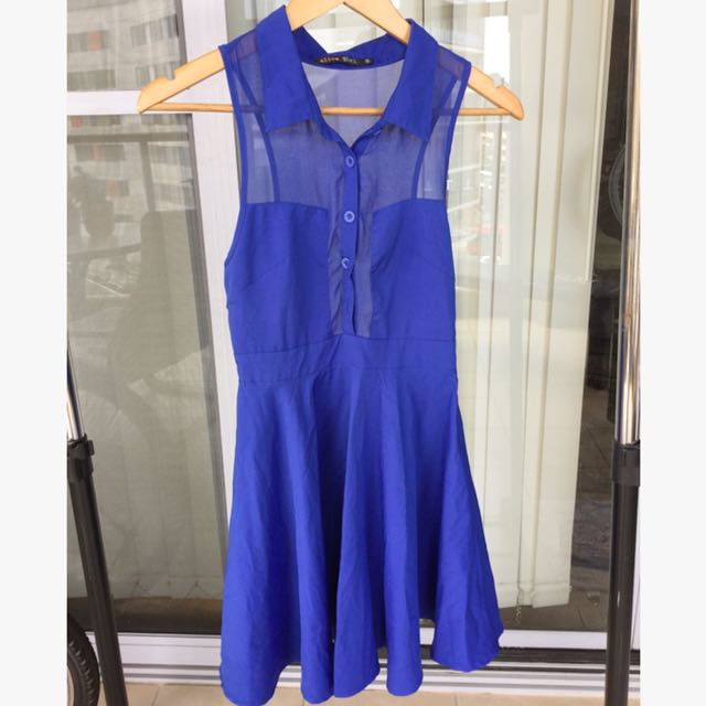Blue Sheer Dress Size 8