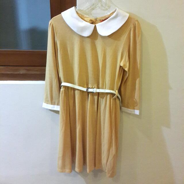 Carla Mustard Dress + Belt