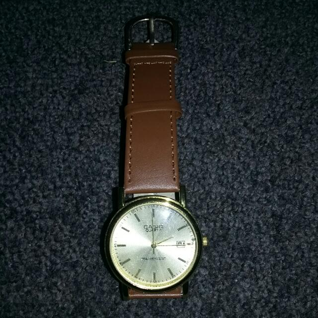 Casio Gold Watch - Brown Leather Band
