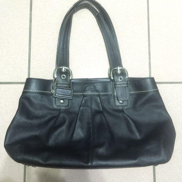 Coach 黑色皮質手提包