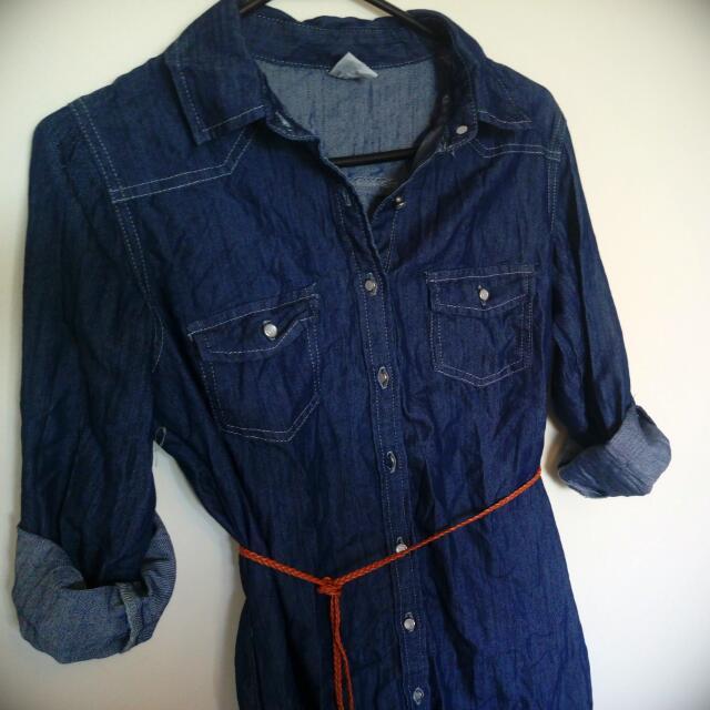 Denim Shirt Dress With Woven Tie Belt