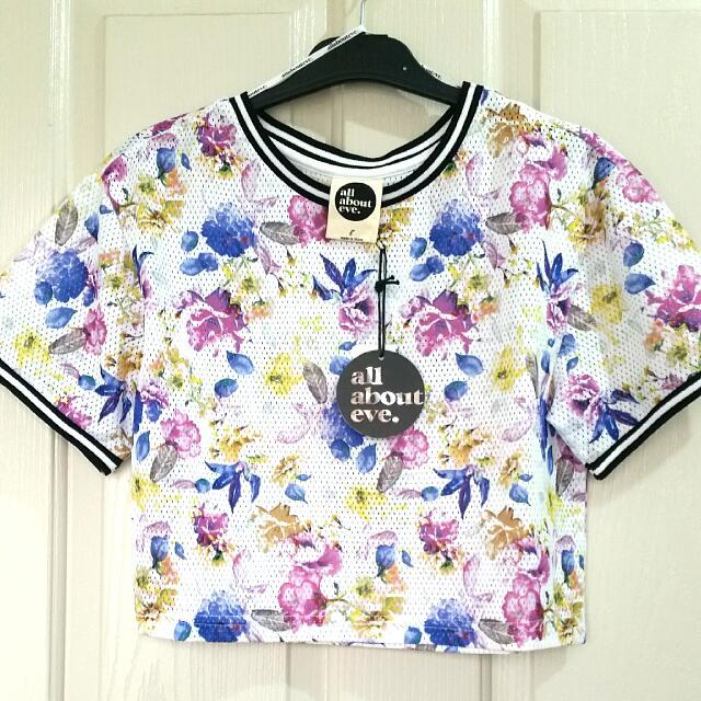 Floral jersey crop top
