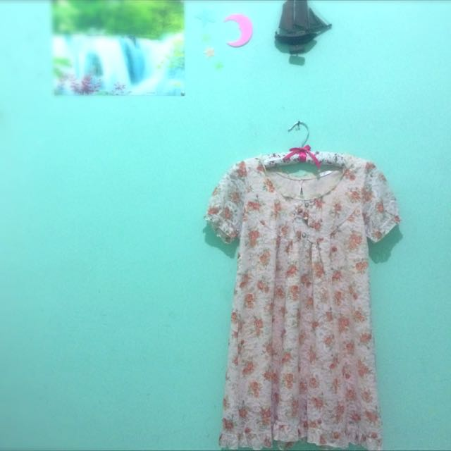 Peach Flowery Lace Dress