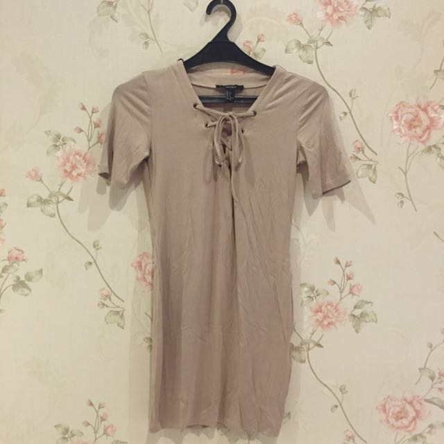 Forever21 Nude Lace Up Dress