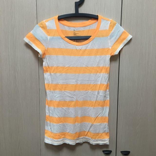 GAP螢光橘條紋T-shirt