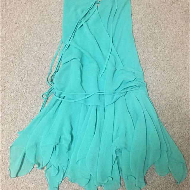 Green Flowy Party Dress