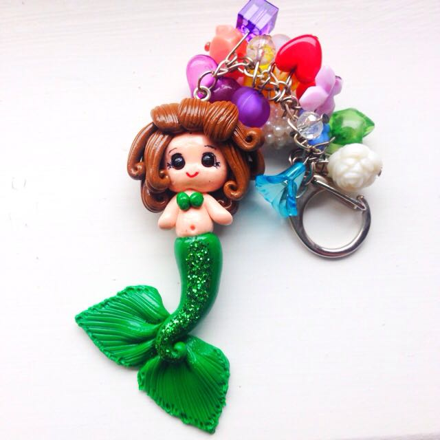 Handmade Clay Mermaid Keyring