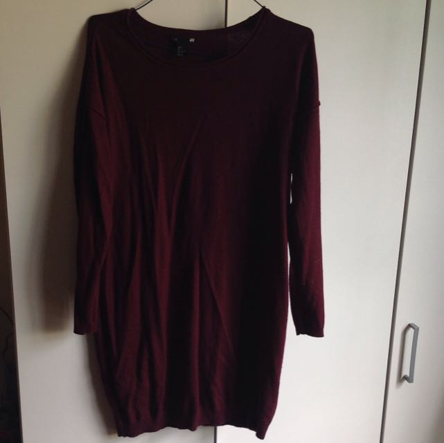 H&M BURGUNDY LONG SLEEVE DRESS