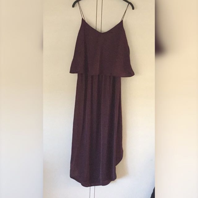 H&m Formal Maxi Dress Silky Maroon