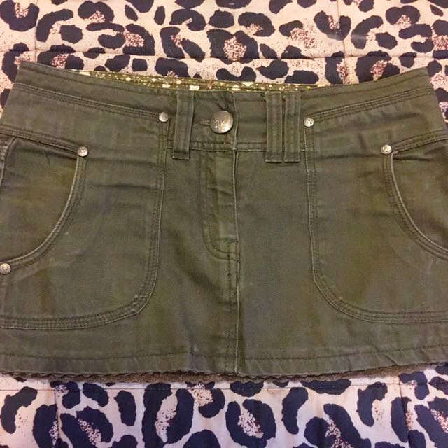 Khaki Mini Denim Skirt
