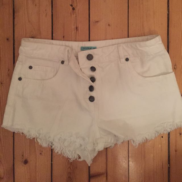 Kookai White Cut Off Shorts 36