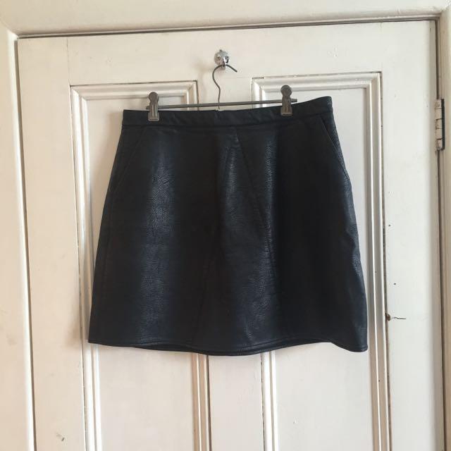 Leather Look Mini Skirt