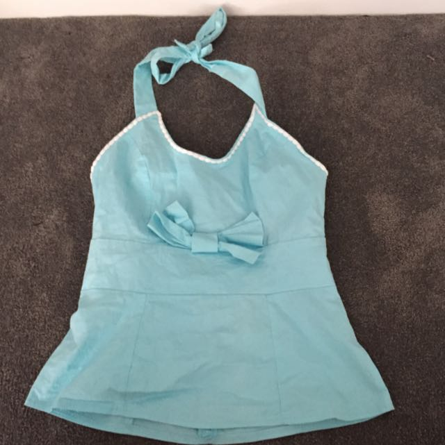 Mombasa Rose Funky Blue Pin Up Top