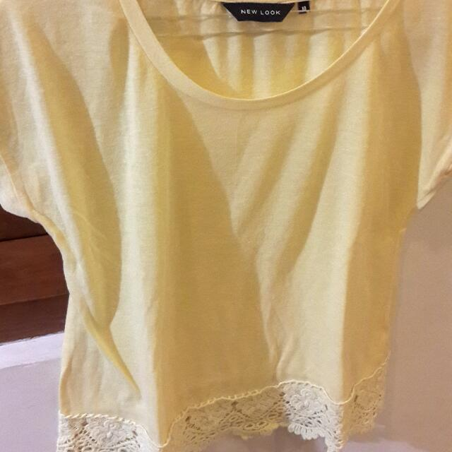 New Look Yellow Shirt W/lace