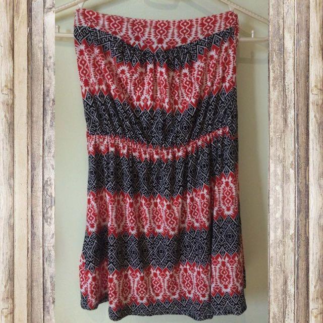 Red & Black Aztec Dress