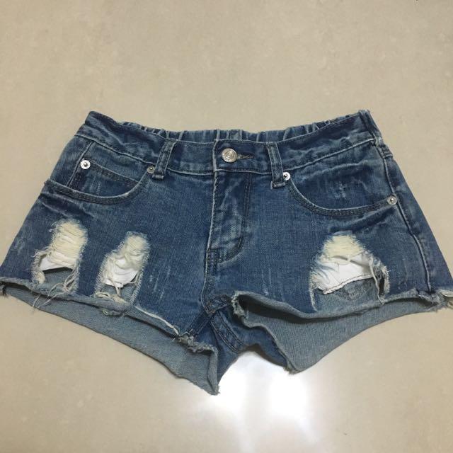 刷破牛仔短褲(S)