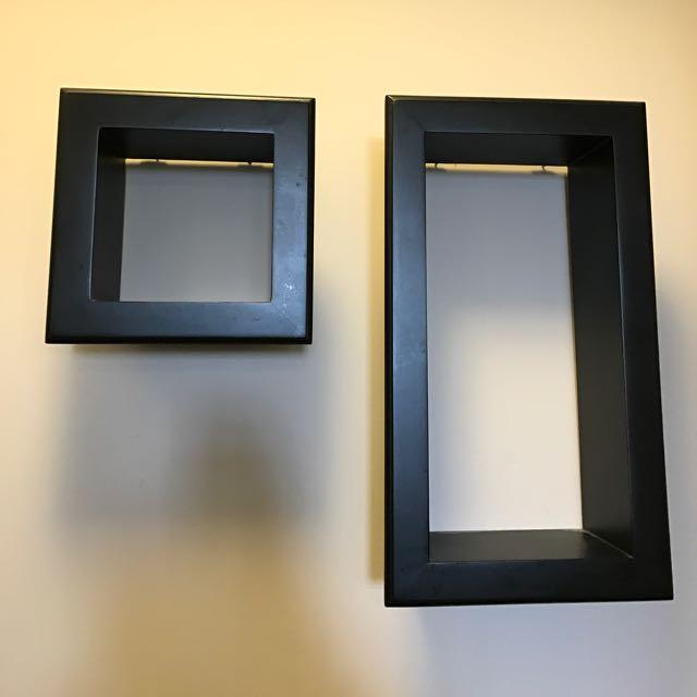 Set Of 2 Black Floating Shelves