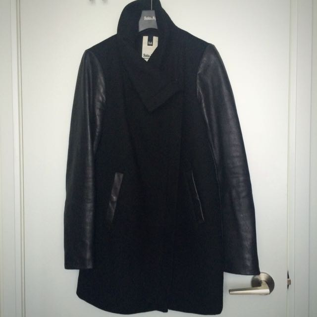Soia & Kyo Wool Coat with Leather Sleeves