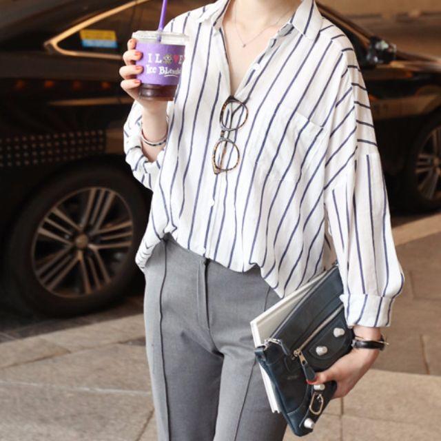 S-XL 韓國小清新條紋素面襯衫